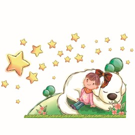 New Arrival Cute Dog and Star Wall Stickers for Home Decoration