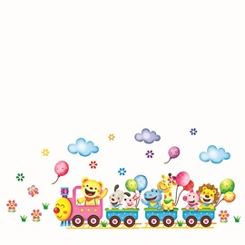 Cute Animal Train Wall Stickers for Children Room Decoration