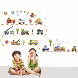 Cute Car Wall Stickers for Children Home Decoration