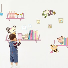 Cute Smile Bookshelf Children Wall Sticker for Home Decoration