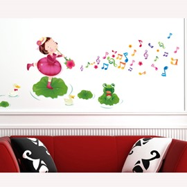 New Arrival Lotus and Girl Wall Sticker for Home Decoration