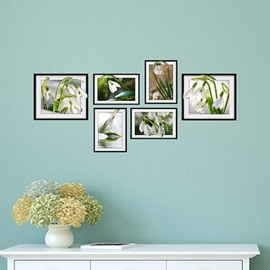 Fresh Beautiful White Flowers Photo Frame Wall Sticker