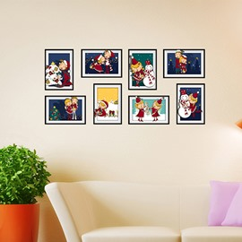 Cute Cartoon Snowmen and Children Photo Frame Wall Sticker