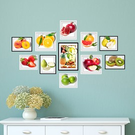 Delicious 11 Types of Fruit Photo Frame Wall Sticker