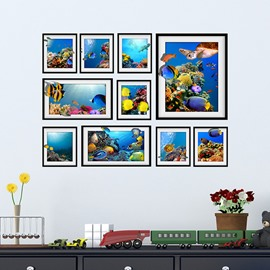Blue Sea and Fishes Photo Frame Wall Sticker