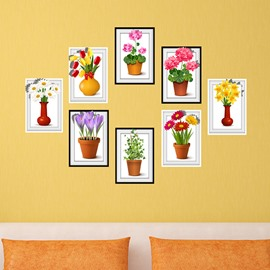 Colorful Countryside Style 8 Types of Flower Photo Frame Wall Sticker