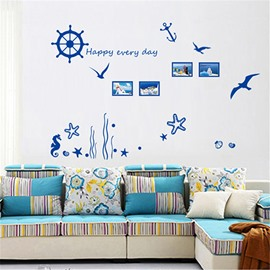 Mediterranean Style Navigation and Starfish Pattern Wall Sticker