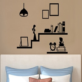 Black Simple Book Shelf and Photo Frame Shape Wall Stickers