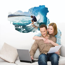 Surfing on The Blue Sea 3D Waterproof Wall Stickers