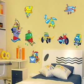 Cute Cartoon Public Transportation Pattern Wall Stickers