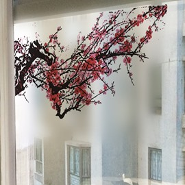 Gorgeous Decorative Plum Blossom Glass Wall Stickers