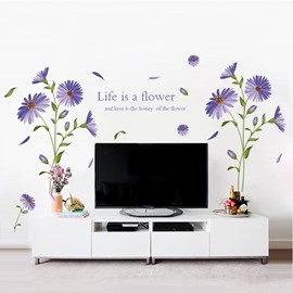 Purple Flower and Letters Pattern Home Decorative Wall Stickers