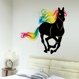 Black Running Horse with Colorful Outlines Waterproof Wall Stickers