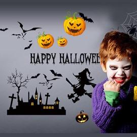 Amusing Simple Pumpkin and Bat Pattern Halloween Decoration Wall Stickers