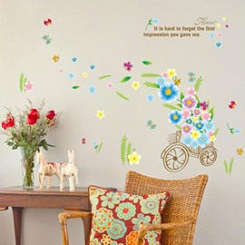Fancy Decorative Flower in a Cute Bicycle Pattern Wall Stickers