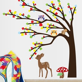 Simple Style Animal and Tree Forest Scenery Pattern Wall Stickers
