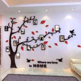 Photo Frame Tree Country Style Acrylic 3D Waterproof 11 Frames Wall Stickers