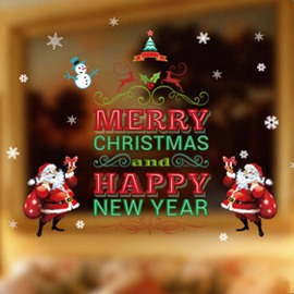 Merry Christmas and Happy New Year Santa Claus Pattern Decorative Wall Stickers