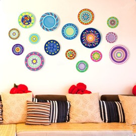 Modern Fashion Colorful Floral Circle Pattern Decorative Wall Stickers