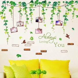 Green Leaves 5 Photo Frames Waterproof and Environmental Wall Stickers