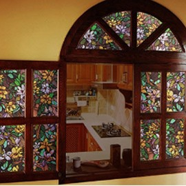 31*39in Colorful Magnolia PVC Waterproof Durable and Eco-friendly Glass Window Stickers