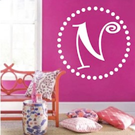 24×24in Letter Pattern Creative Style PVC Waterproof and Durable Round Custom Wall Stickers