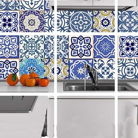 8*8in*4 Pieces Blue Flowers Pattern Bohemian Style PVC Waterproof and Eco-friendly Wall Stickers