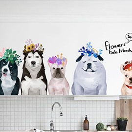 Dog Friends Art Decor Bedroom Bathroom Glass Wall Sticker