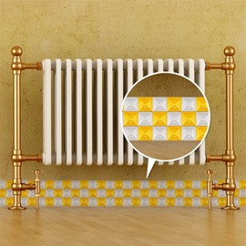 3D White Yellow Plaids Pattern PVC Waterproof Eco-friendly Self-Adhesive Baseboard Wall Stickers