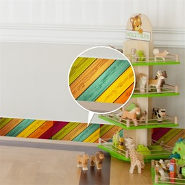 3D Colored Bars Pattern PVC Waterproof Eco-friendly Self-Adhesive Baseboard Wall Stickers