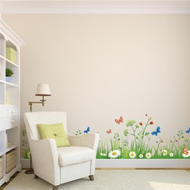Green Grass Printed PVC Waterproof Eco-friendly Baseboard Wall Stickers
