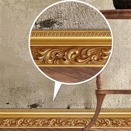 Golden Floral Pattern PVC Waterproof Eco-friendly Self-Adhesive Baseboard Wall Stickers