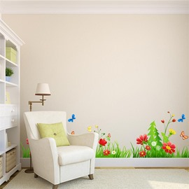 Flowers Grass Butterflies Printed PVC Waterproof Eco-friendly Baseboard Wall Stickers