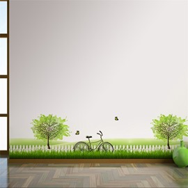 Green Lawn Trees Printed PVC Waterproof Eco-friendly Baseboard Wall Stickers