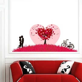 Red Petals Couple Bike Pattern PVC Waterproof Eco-friendly Baseboard Wall Stickers