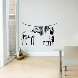 Elegant Animal Zebra Horse People PVC Waterproof Eco-friendly Living Room Bedroom Background Wall Stickers