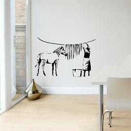 Elegant Animal Zebra Horse People PVC Waterproof Eco-friendly Living Room Bedroom Background Wall Stickers