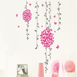 Delicay Rose-Carmine Butterfly Flowers with Leaf Pattern PVC Waterproof Eco-friendly Bedroom Removable Wall Sticker