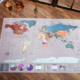 Elegant and Funny Scratch Map Poster Creative Paper Wall Stickers