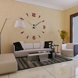 Clock Pattern Acrylic Fashionable DIY Mirror Surface Wall Sticker