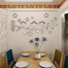 DIY Silver Star Pattern Home Decor 3D mirror Acrylic Wall Sticker