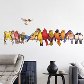 Birds On The Branch Pattern Hand Drawing Style Waterproof Wall Sticker
