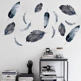 Soft Feather Shape Home Decor Removable Waterproof Wall Sticker