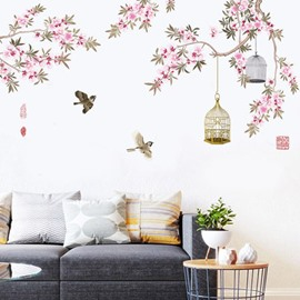 Vivid Birds With Flower Pattern Home Decor Waterproof Wall Sticker