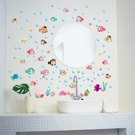 Funny Cartoon Fish For Kids Sea Style Bathroom PVC Glass/Wall Sticker