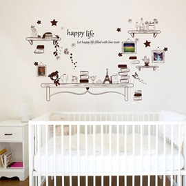 Funny Bookshelf And Little Bear Photo PVC Removable Kids Room Wall Stickers