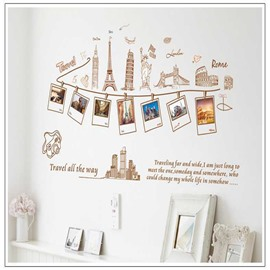 Creative World Tour Photo PVC Removable Kids Room Height Ruler Wall Stickers