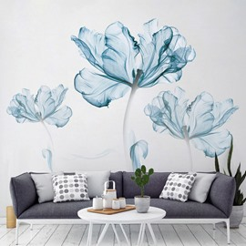 Simple Design Blue Flower Pattern Home Decor Removable Waterproof Wall Sticker