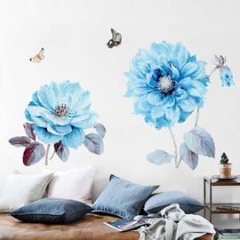 Blue Big Flower Pattern Waterproof Corridor Bedding Room Home Decor Wall Sticker