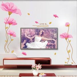 Simple Design Pink Flower Pattern TV Wall Corridor Home Decor Waterproof Removable Wall Sticker
